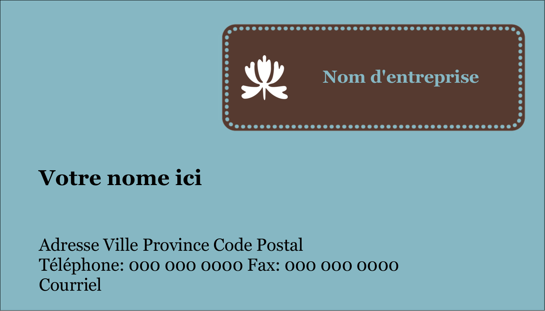 """3½"""" x 2"""" Carte d'affaire - Bordure en brun et bleu"""