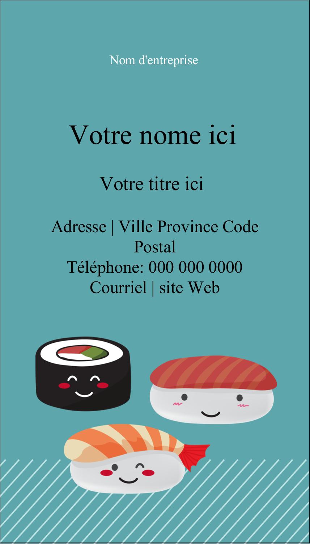 """3½"""" x 2"""" Carte d'affaire - Émoticônes de sushis"""