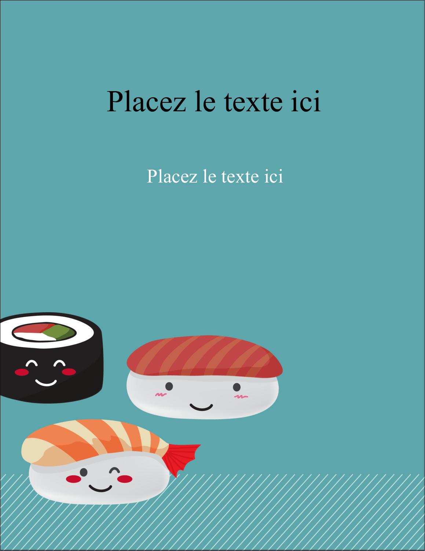 """5½"""" x 4¼"""" Carte Postale - Émoticônes de sushis"""