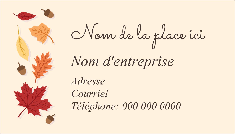 """2"""" x 3½"""" Carte d'affaire - Feuilles de l'Action de grâces"""