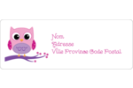 Chouette rose Étiquettes D'Adresse - gabarit prédéfini. <br/>Utilisez notre logiciel Avery Design & Print Online pour personnaliser facilement la conception.