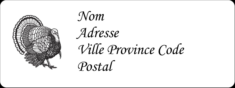 """1½"""" x 4"""" Étiquettes D'Adresse - Dinde traditionnelle de l'Action de grâces"""