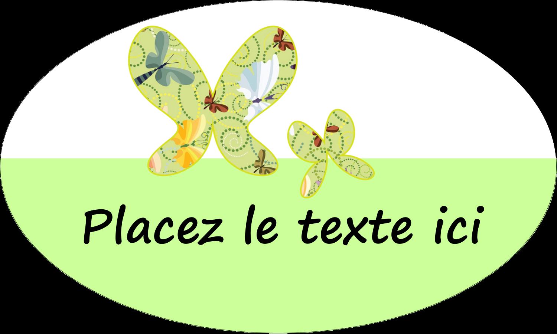"""1½"""" x 2½"""" Étiquettes ovales - Deux papillons"""
