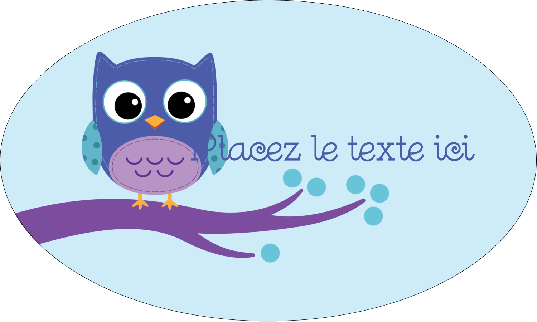 """1½"""" x 2½"""" Étiquettes ovales - Chouette bleue"""