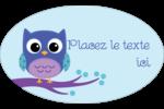 Chouette bleue Étiquettes ovales - gabarit prédéfini. <br/>Utilisez notre logiciel Avery Design & Print Online pour personnaliser facilement la conception.