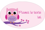 Chouette rose Étiquettes ovales - gabarit prédéfini. <br/>Utilisez notre logiciel Avery Design & Print Online pour personnaliser facilement la conception.