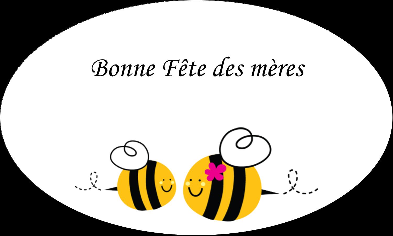 """1½"""" x 2½"""" Étiquettes ovales - Maman abeille"""