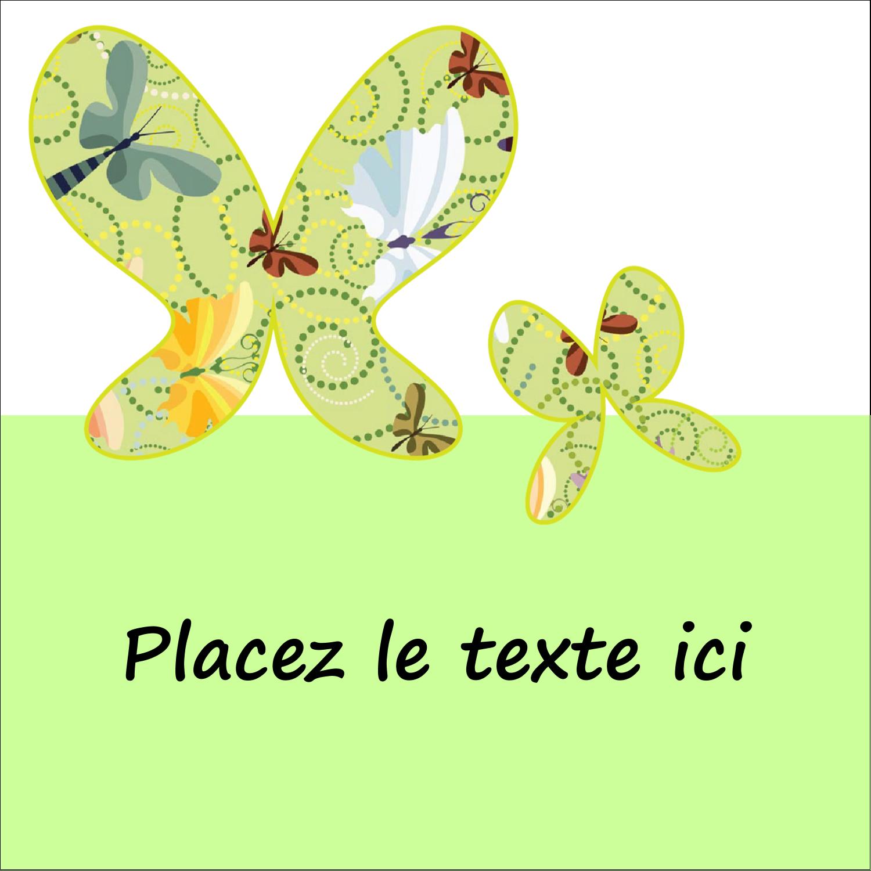 """2"""" x 2"""" Étiquettes carrées - Deux papillons"""