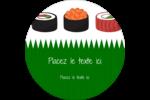 Sushis  Étiquettes rondes - gabarit prédéfini. <br/>Utilisez notre logiciel Avery Design & Print Online pour personnaliser facilement la conception.
