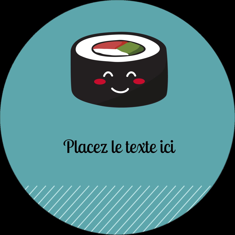 """2½"""" Diameter Étiquettes rondes - Émoticônes de sushis"""