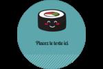 Émoticônes de sushis Étiquettes rondes - gabarit prédéfini. <br/>Utilisez notre logiciel Avery Design & Print Online pour personnaliser facilement la conception.