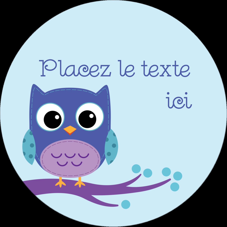 """2"""" Diameter Étiquettes rondes - Chouette bleue"""