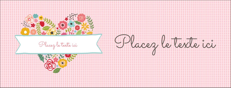 """1-7/16"""" x 3¾"""" Affichette - Cœurs et fleurs"""