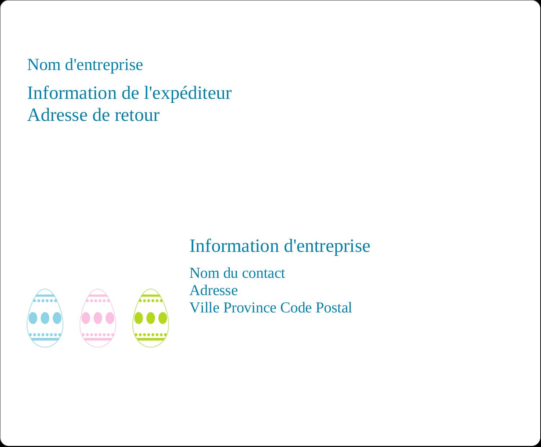 Trio d'œufs de Pâques Étiquettes d'expédition - gabarit prédéfini. <br/>Utilisez notre logiciel Avery Design & Print Online pour personnaliser facilement la conception.