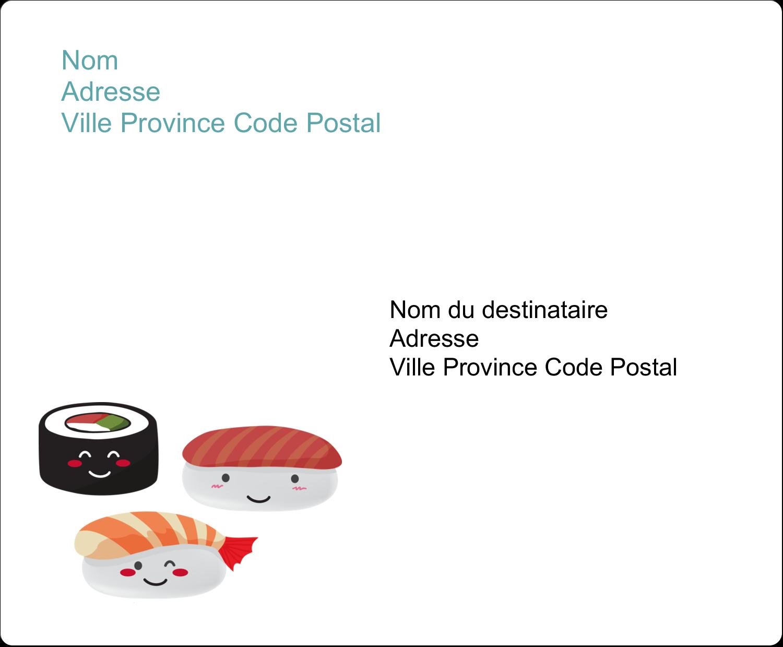 """3⅓"""" x 4"""" Étiquettes d'expédition - Émoticônes de sushis"""