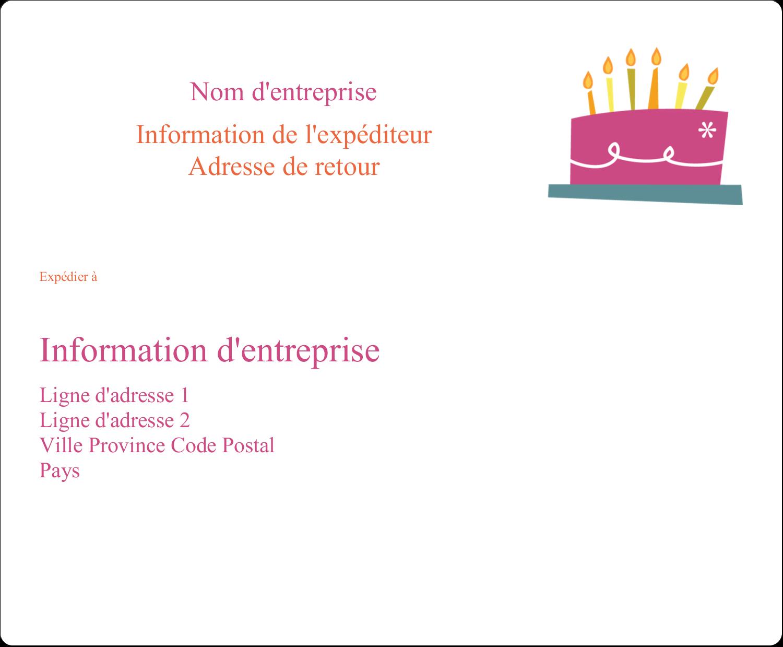 """3⅓"""" x 4"""" Étiquettes d'expédition - Fête d'anniversaire"""