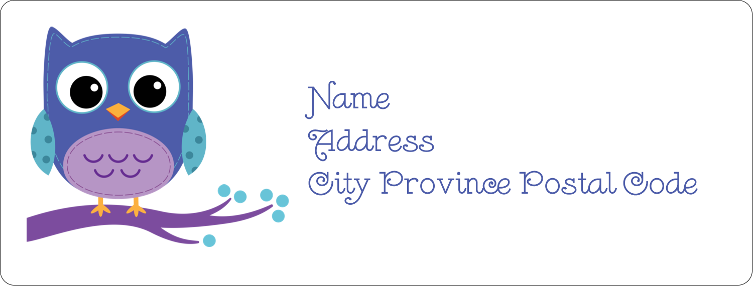 "1"" x 2⅝"" Address Label - Owl Dots Blue"
