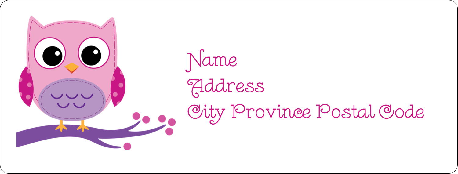 Owl Dots Pink predesigned Label and Card template for your ...