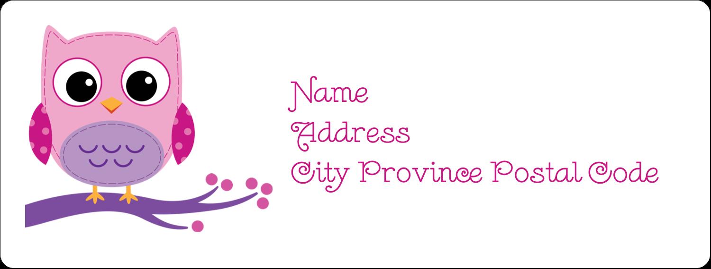 "1"" x 2⅝"" Address Label - Owl Dots Pink"