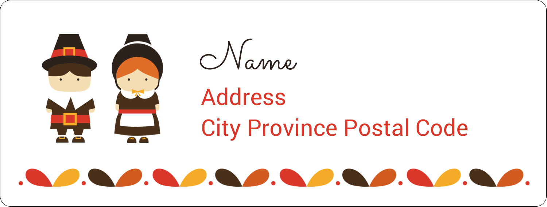 "1"" x 2⅝"" Address Label - Thanksgiving Pilgrims"
