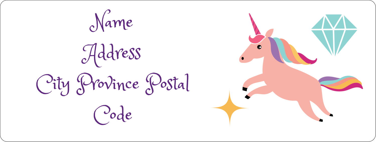 "1"" x 2⅝"" Address Label - Unicorn Party"