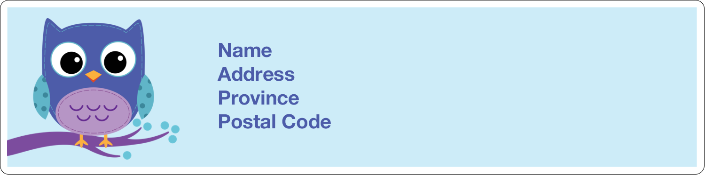 "1"" x 4"" Address Label - Owl Dots Blue"