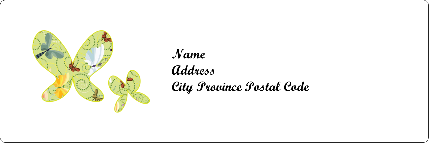 "1⅓"" x 4"" Address Label - Pair of Butterflies"