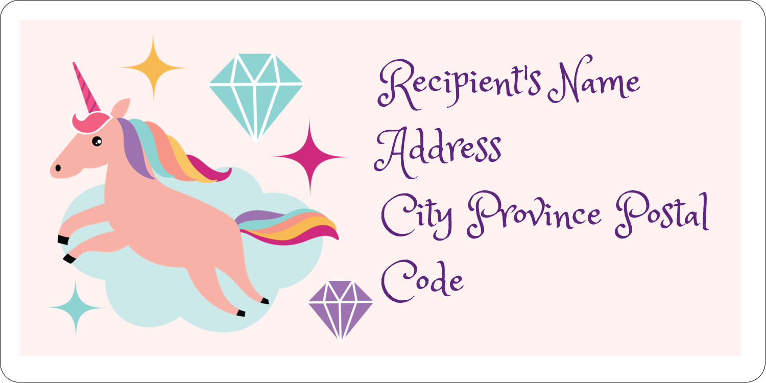 "2"" x 4"" Shipping Label - Unicorn Party"