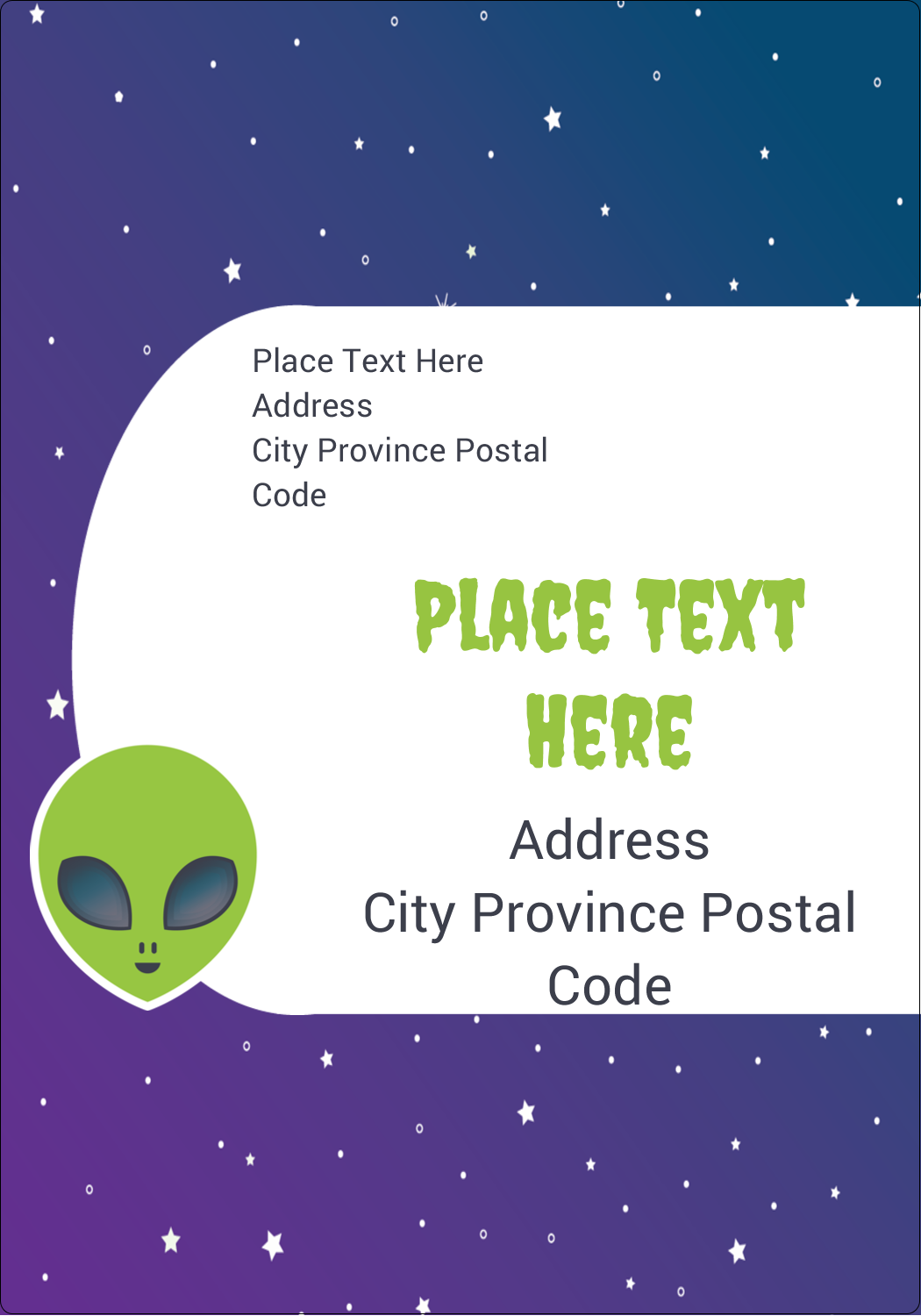 "5"" x 3½"" Shipping Label - Alien Party"