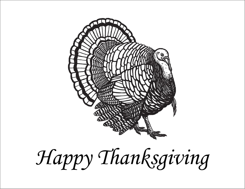 """5½"""" x 4¼"""" Note Card - Thanksgiving Vintage Turkey"""
