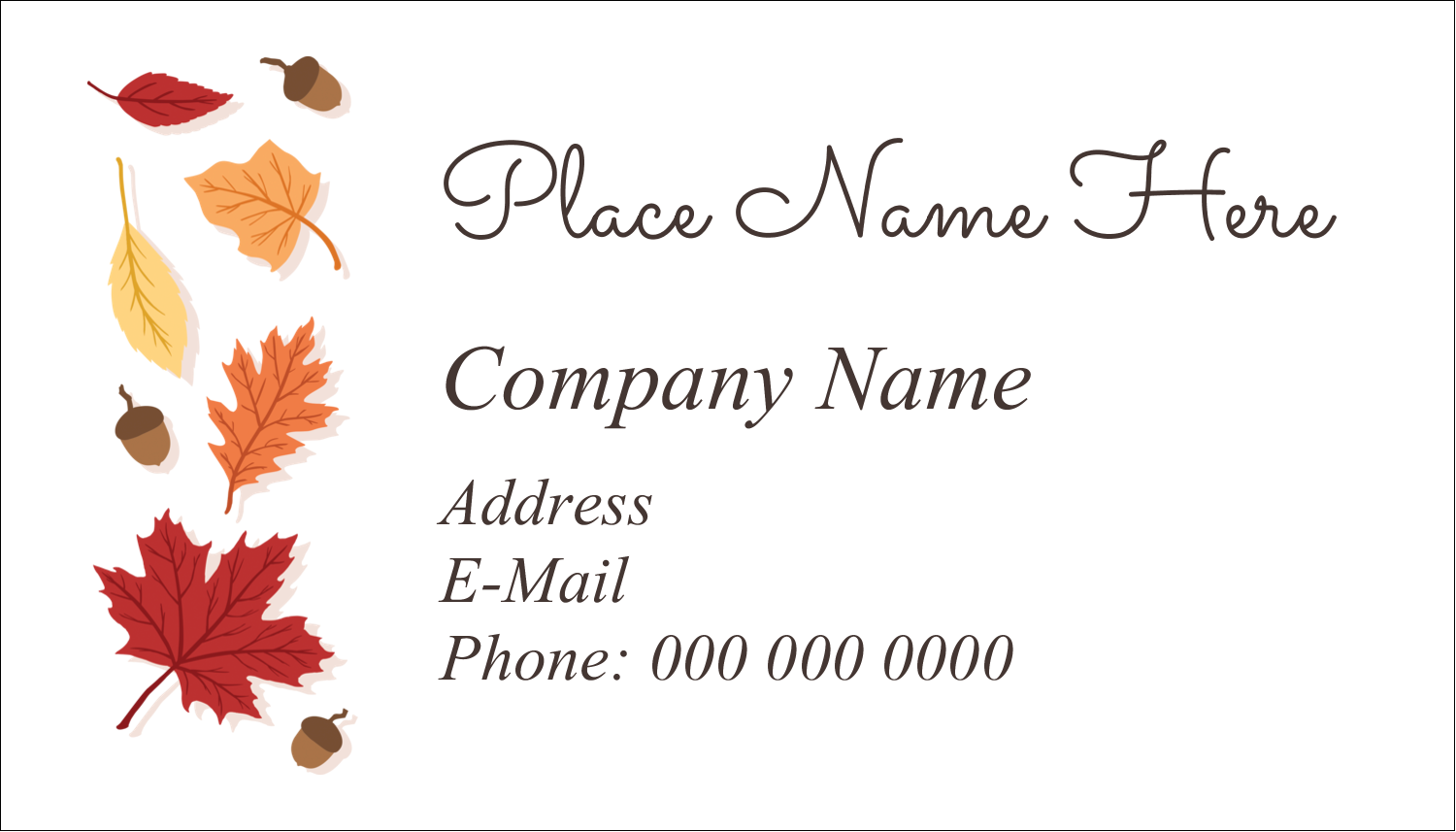 "2"" x 3½"" Business Card - Thanksgiving Leafy"