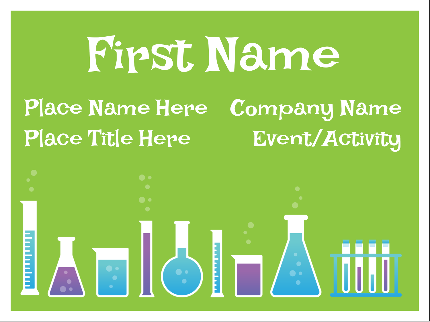 """3"""" x 4"""" Name Tags - Mad Scientist Party"""