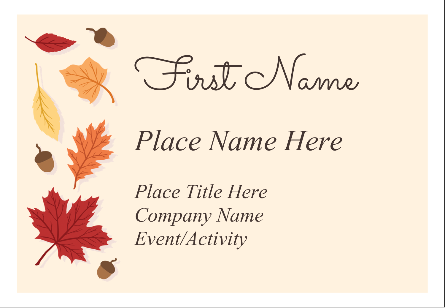 "3⅜"" x 2⅓"" Name Badge - Thanksgiving Leafy"