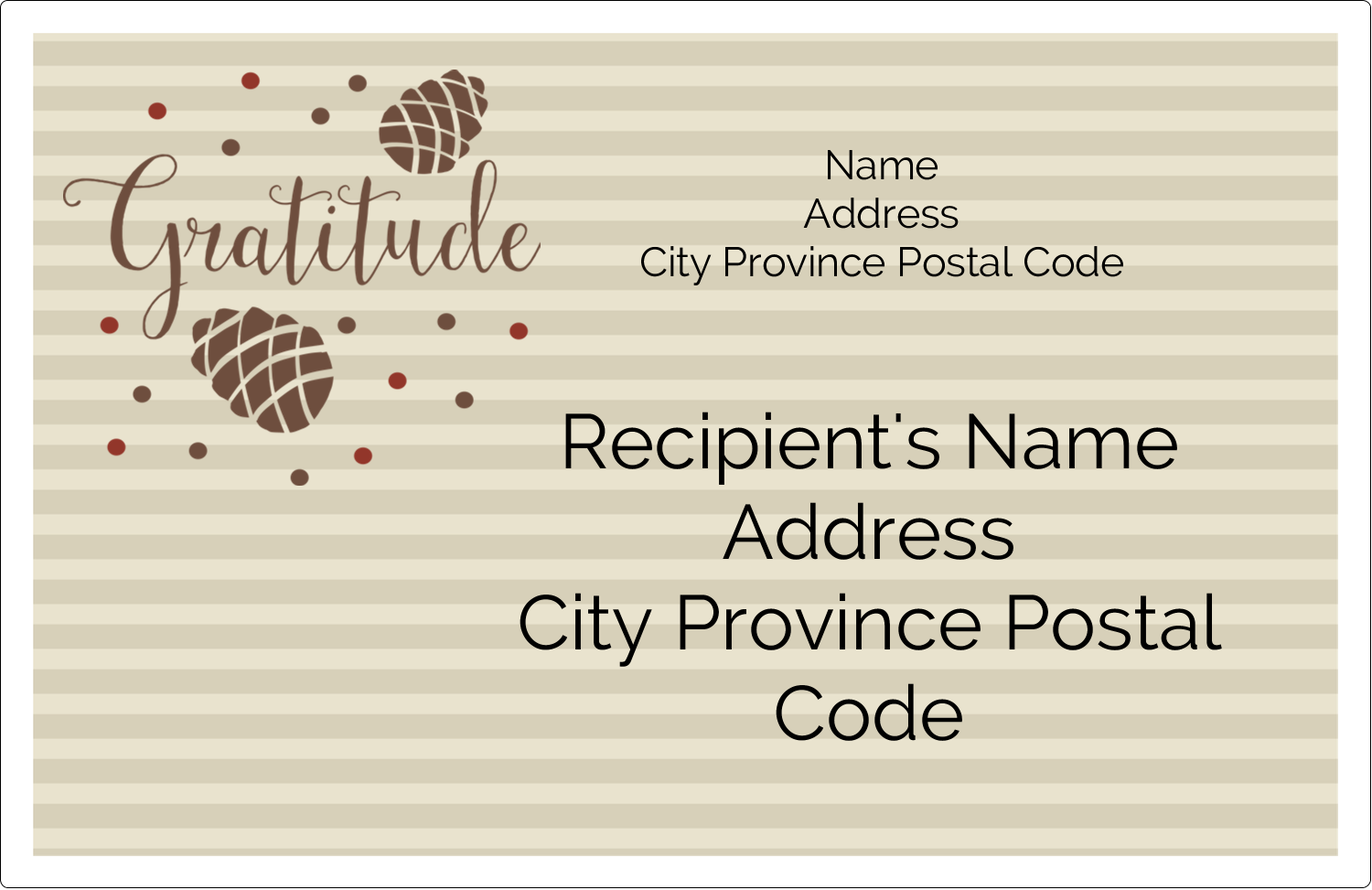 "5½"" x 8½"" Shipping Label - Thanksgiving Gratitude"