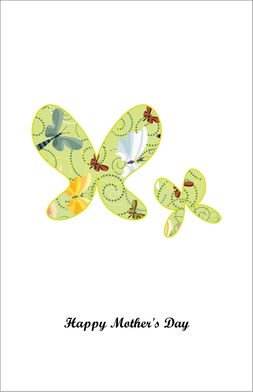 "5"" x 8½"" Half Fold Card - Pair of Butterflies"