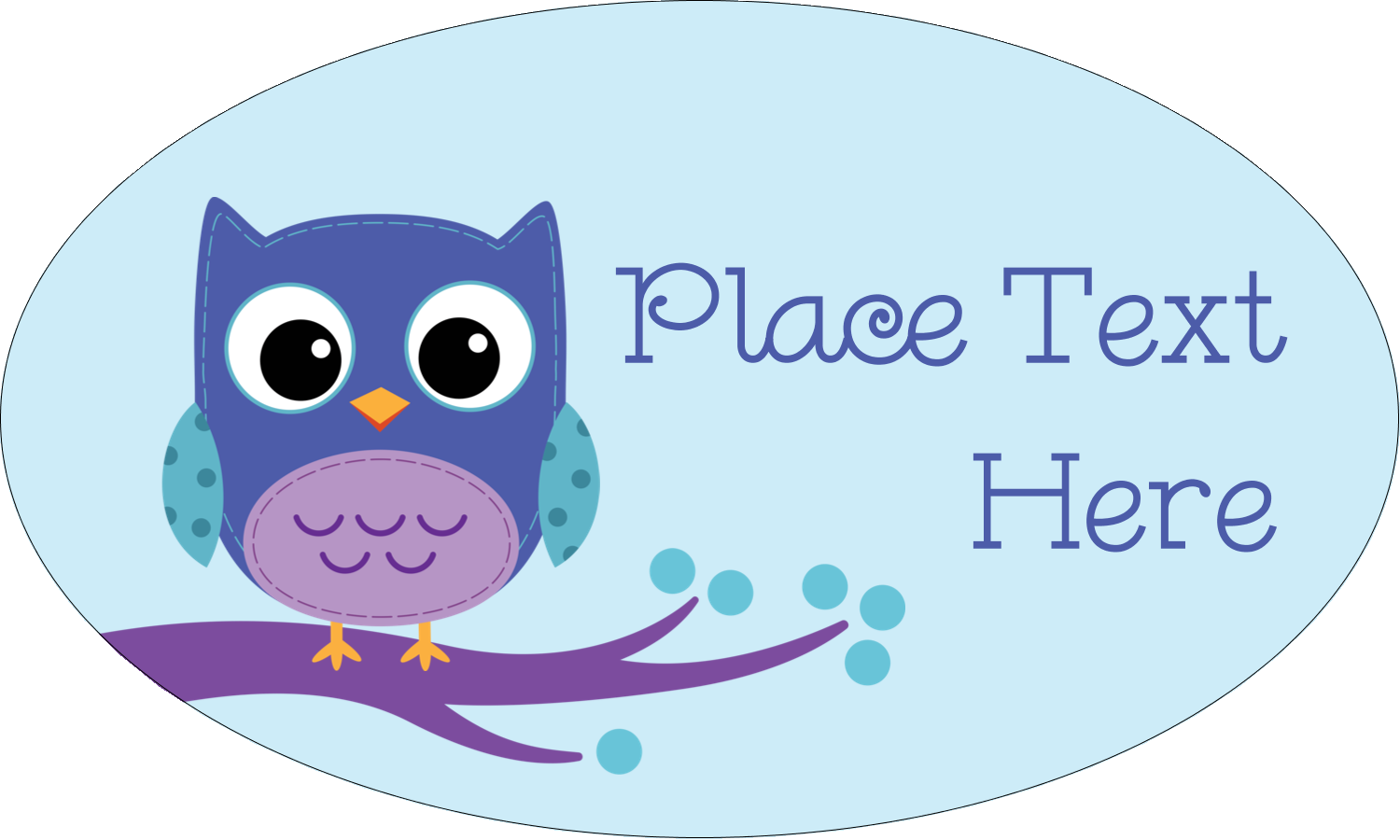 """1½"""" x 2½"""" Oval Glossy Label - Owl Dots Blue"""