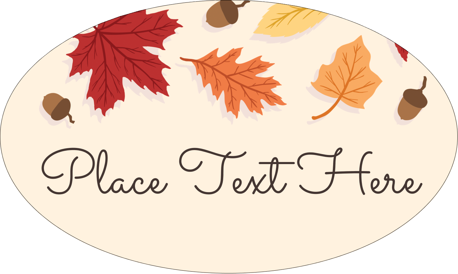 "1½"" x 2½"" Oval Glossy Label - Thanksgiving Leafy"