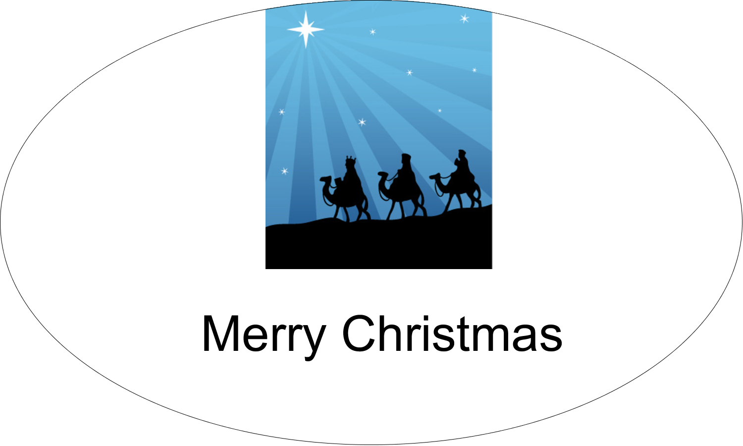 "1½"" x 2½"" Oval Glossy Label - Three Wise Men"