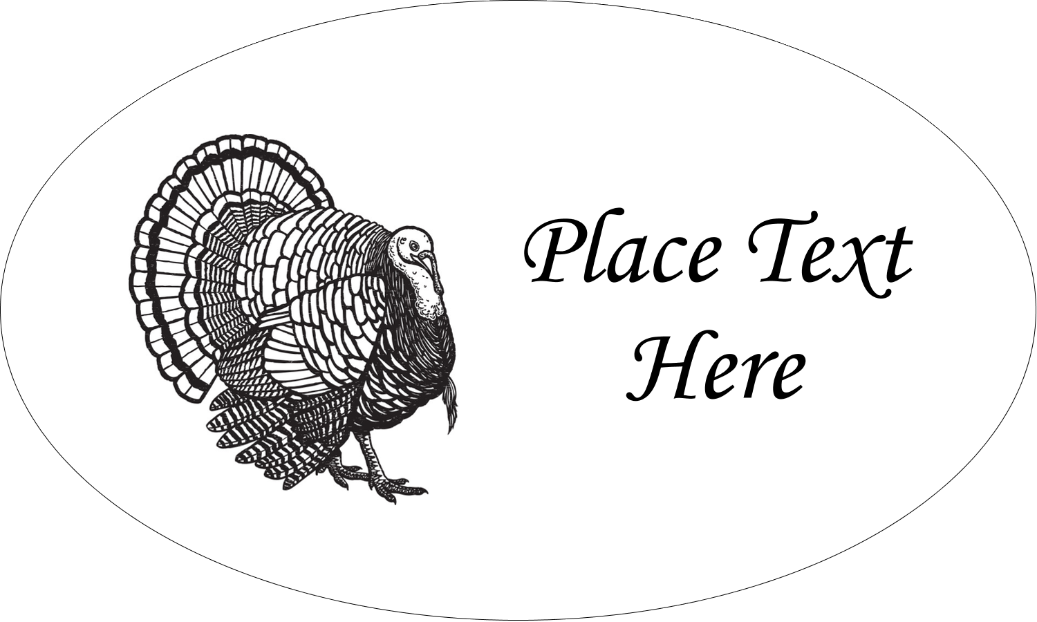 "1½"" x 2½"" Oval Glossy Label - Thanksgiving Vintage Turkey"