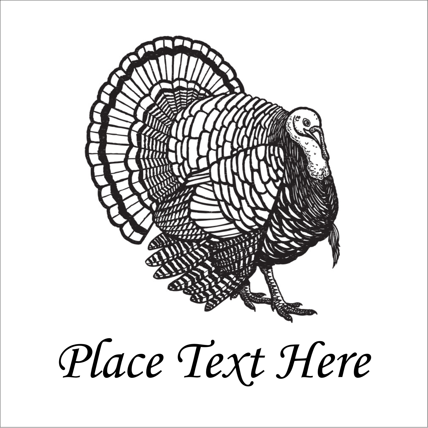 "2"" x 2"" Sqaure Label - Thanksgiving Vintage Turkey"