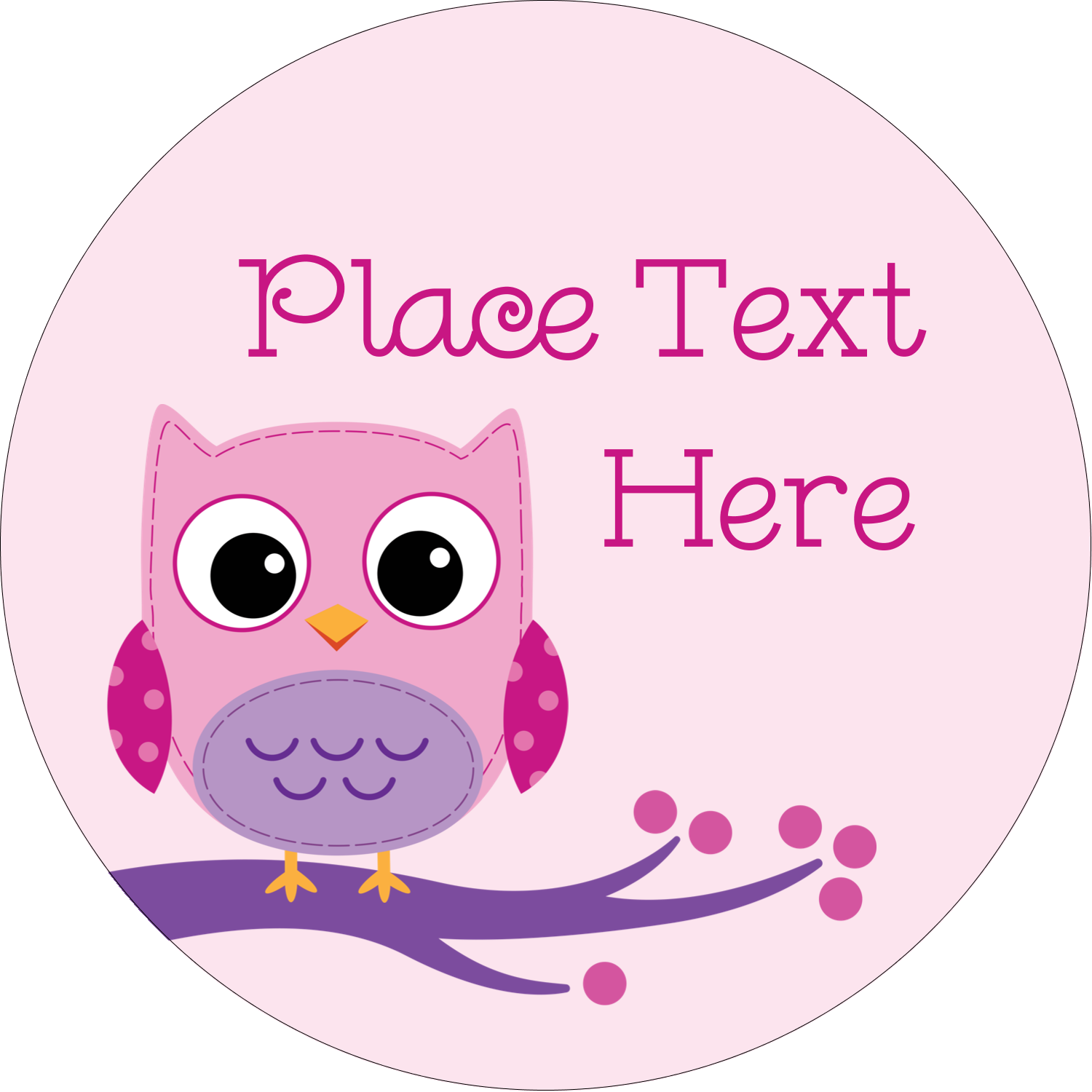"""2"""" Round Label - Owl Dots Pink"""