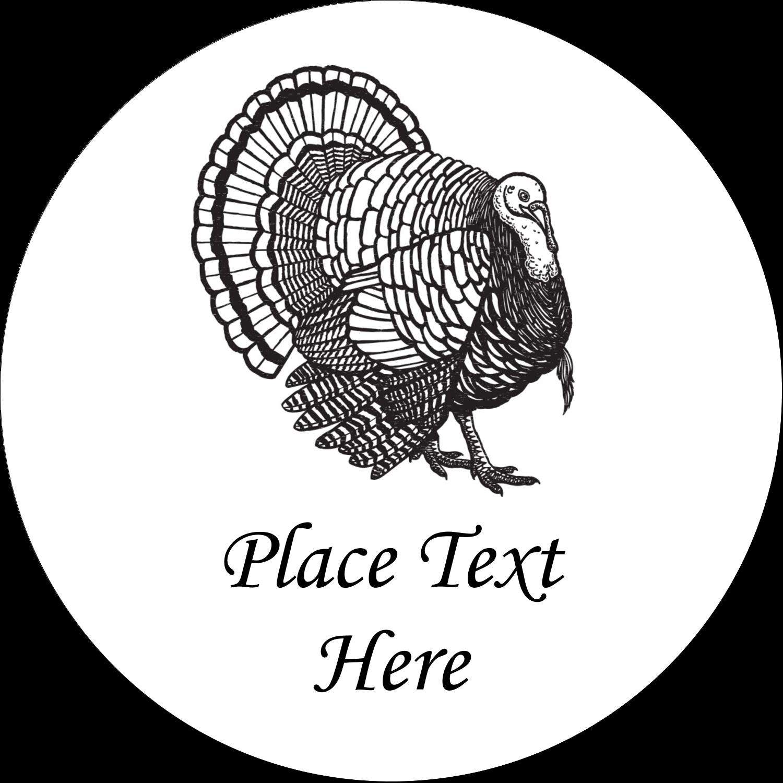 """2"""" Round Label - Thanksgiving Vintage Turkey"""