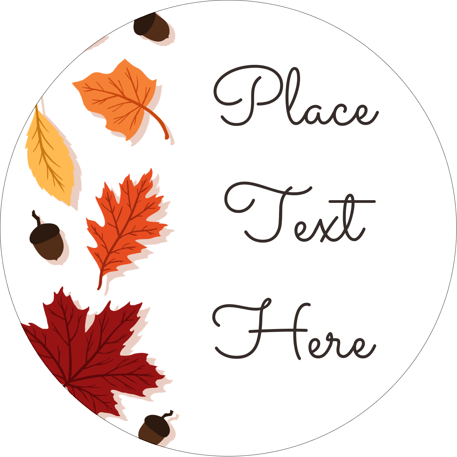 "2½"" Round Label - Thanksgiving Leafy"