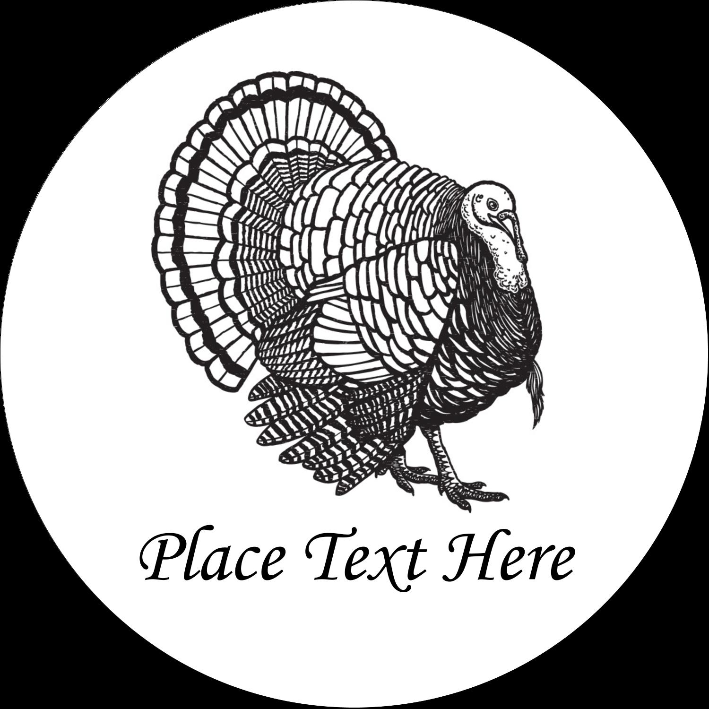 """2½"""" Round Label - Thanksgiving Vintage Turkey"""