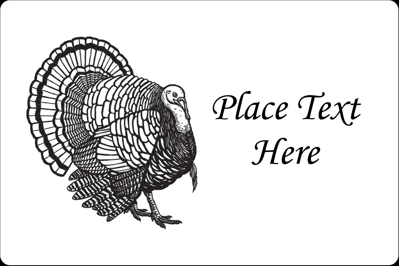 "2"" x 3"" Rectangular Label - Thanksgiving Vintage Turkey"