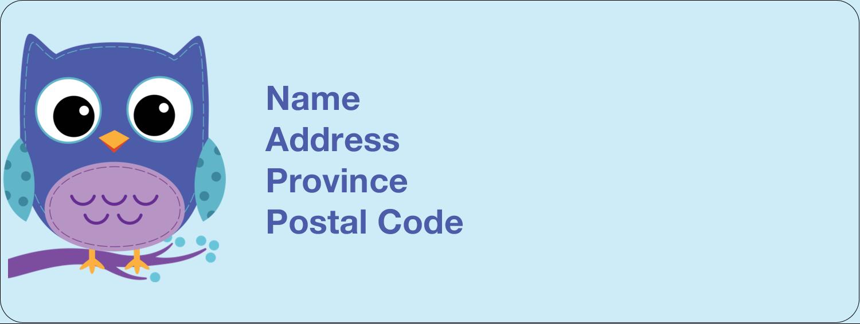 "⅔"" x 1¾"" Address Label - Owl Dots Blue"
