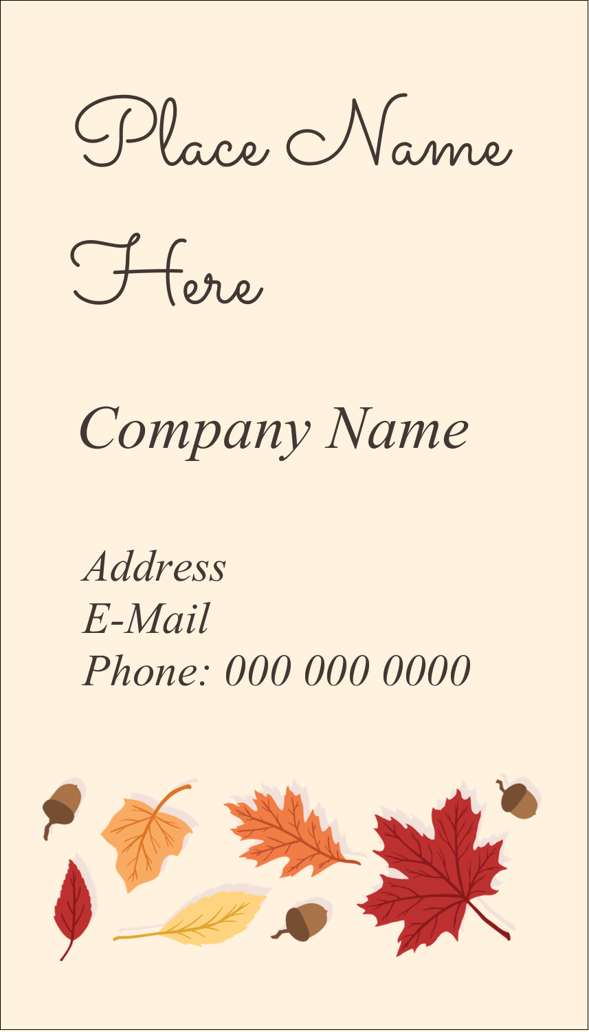 "3½"" x 2"" Business Card - Thanksgiving Leafy"