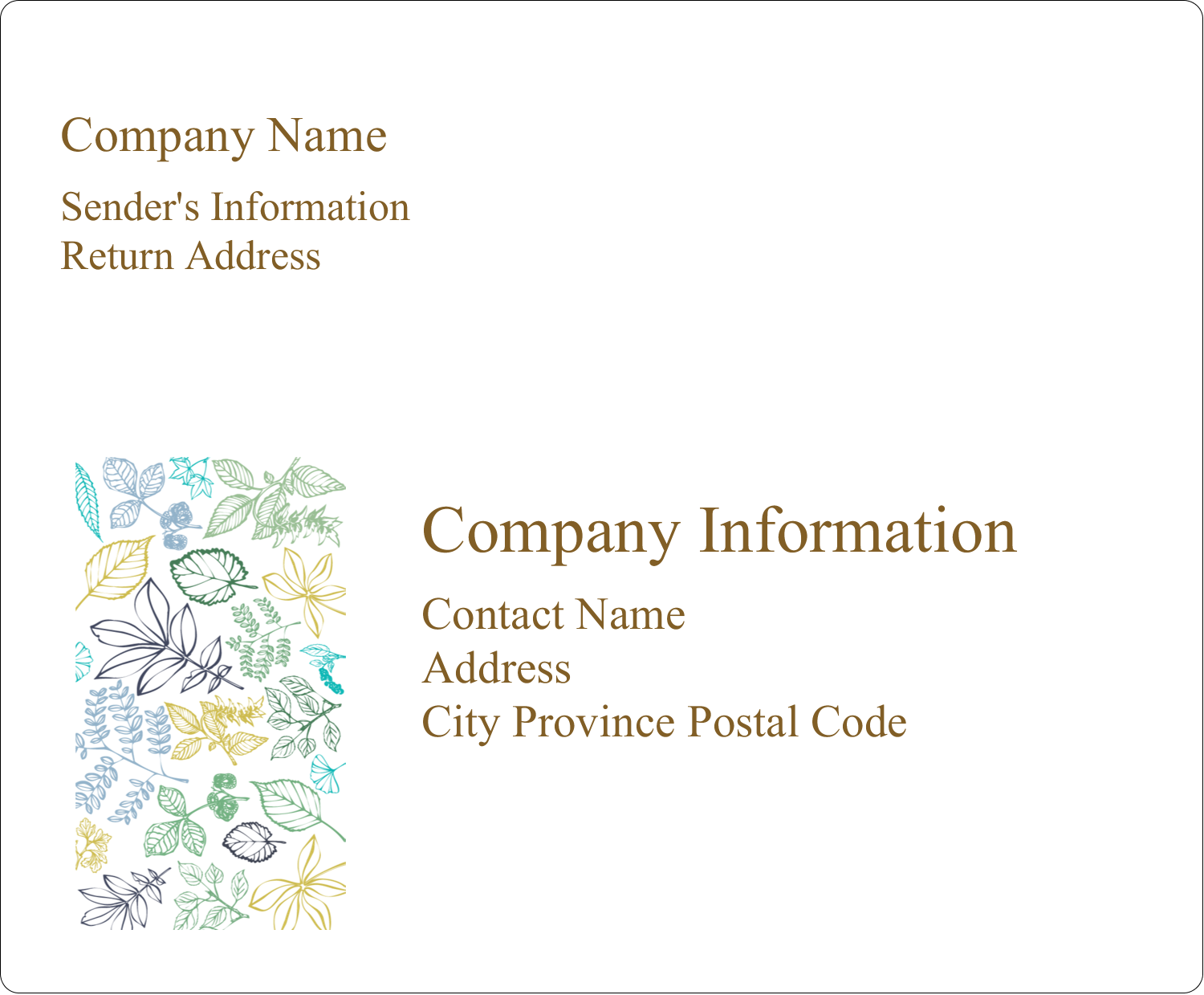 "4"" x 3⅓"" Shipping Label - Pastel Foliage"