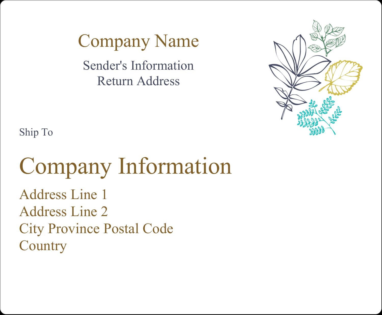 "4"" x 3⅓"" Shipping Label - Pastel Foliage"