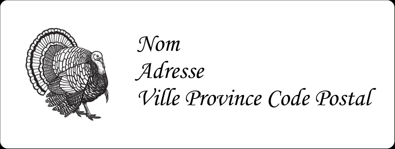 """1"""" x 4"""" Étiquettes d'adresse - Dinde traditionnelle de l'Action de grâces"""